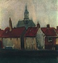 Cluster of Old Houses with the New Church in The Hague