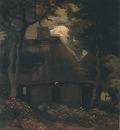 Cottage with Trees and Peasant Woman