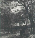 bois de boulogne with people walking, the version