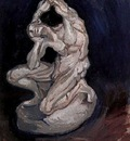 Plaster Statuette of a Kneeling Man
