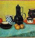 Still Life Blue Enamel Coffeepot, Earthenware and Fruit