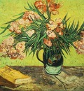 Still Life Vase with Oleanders and Books