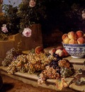 Alexandre Francois Desportes Still Life Of Grapes Peaches In A Blue And White Porcelain Bowl And A Melon