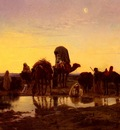 Eugene Alexis Girardet Camel Train By An Oasis At Dawn