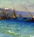 Fausto Zonaro A View Of The Bosphorous From The Old Byzantine Walls