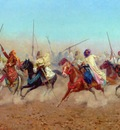 Giulio Rosati Charging Horsemen Outside The Northern Cemetery