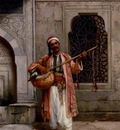Stanislaus Chlebowski A Musician Playing Before A Mosque In Constantinople