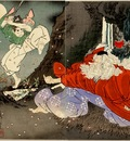 Yoshitoshi Sojobo Instructs Yoshitsune in the Sword
