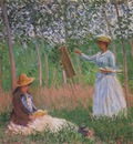 Suzanne Reading and Blanche Painting by the Marsh at Giverny [1887]
