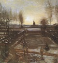 the garden of nuenens presbytery with snow