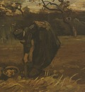 female peasant digging up potatoes, nuenen