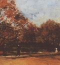 the bois de boulogne with people walking, paris