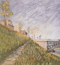 banks of the river seine with the clichys bridge, paris