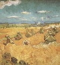 combine with stacks of wheat, arles