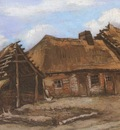 cottage with old barn and a woman bent, nuenen