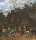 cottage with a woman and a goat , nuenen