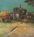 encampment of gypsies with caravans, arles