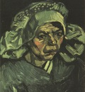female peasants head, with green coif, nuenen