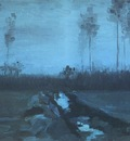 landscape at nightfall, nuenen