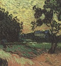 landscape with auvers castle in the background, auvers sur oise