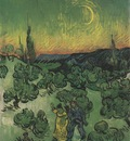 landscape with walking couple and moon in first quarter, saint remy