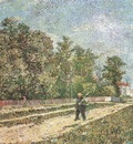 outskirts of paris road with peasant with hoe on his shoulder, paris