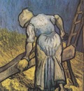 peasant cutting straw as millet , saint remy