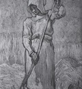 peasant with a squeegee as millet , saint remy