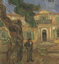 pines with human figure in the garden of the saint pauls hospital, saint remy