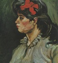 portrait of a woman with red ribbon, nuenen
