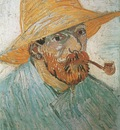self portrait with pipe and straw hat, arles