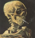 skull with cigarette lit, nuenen 1885