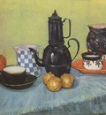 still life coffee blue enamel, earthenware and fruit, arles