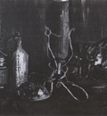 still life with bottles and cowrie, nuenen