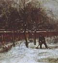 the garden of nuenens presbytery with snow
