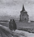 the old nuetens tower with people walking, nuenen