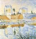 the river seine with the clichys bridge, paris