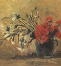 vase with white and red carnations, paris