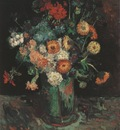 vase with zinnias and geraniums, paris