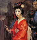 Israels Isaac Japanese woman in red kimono Sun
