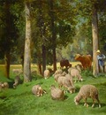 Jacque Charles Emile Landscape with Sheep