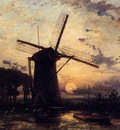 Jongkind Johan Berthold Boatman by a Windmill at Sundown