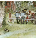 ls Larsson 1894 97 Breakfast under the Big Birch watercolor
