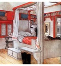 ls Larsson 1894 97 Papas Bedroom watercolor