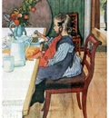 ls Larsson 1900 A Late Risers Miserable Breakfast watercolor