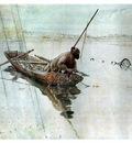 ls Larsson 1905 Fishing watercolor