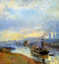 Lebourg Albert Charles Tow boats in Rouen Sun