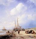 Leickert Charles Coastal scene with fisherfolk Sun