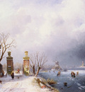Leickert Charles Henri Joseph Belgian 1818 to 1907 A Sunlit Winter Lanscape O C 71 1 by 104 1cm