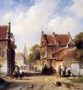 Leickert Charles Henri Summer view on village Sun